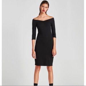 M / Zara black off the shoulder knit dress NWT